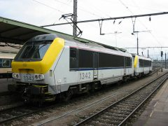 NMBS 1342 and sister loco seeing in the Station of Luxembourg.
